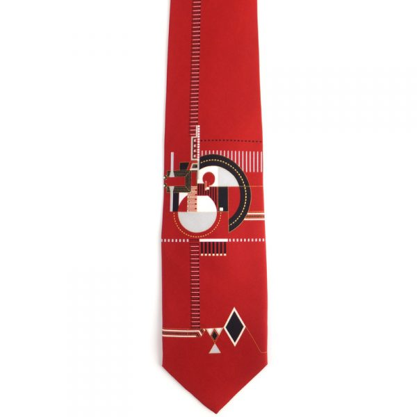 Hollyhock Fireplace Relief Tie - Red-0
