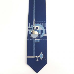 Hollyhock Fireplace Relief Tie - Navy-0