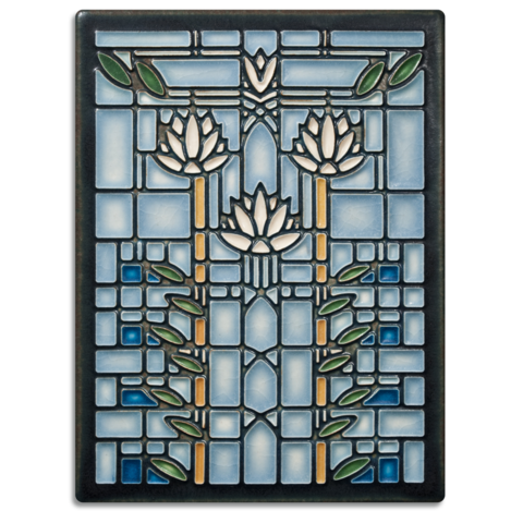 Waterlilies Tile - Blue-0